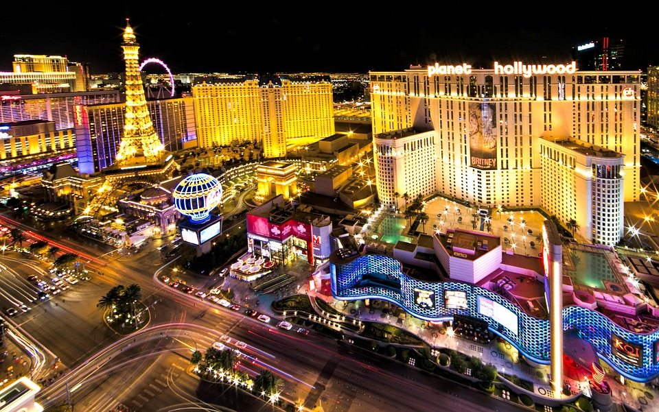 Picture of Las Vegas Strip. Showcasing to tourists all of the Things to do in Las Vegas including casinos, find dining, and gambling.